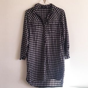 Madewell Flannel Checked Button Down Shirtdress S